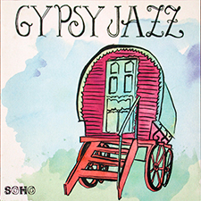 Gypsy Jazz album cover with gypsy caravan on blue and green  background