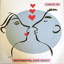 Sentimental Love Songs album cover, silhouettes of lovers kissing and heart motif