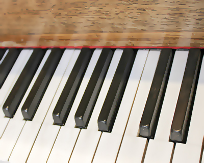 Composer Paul William's piano keyboard detail, one octave above middle C