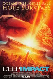 Deep Impact DVD cover with bright orange image of asteroid striking a city and couple embracing