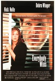 Everybody Wins DVD cover, Debra Winger next to shutters and Nick Nolte through Venetian blinds