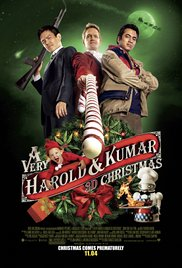 DVD cover with three male actors against green background, Christmas decorations and title below
